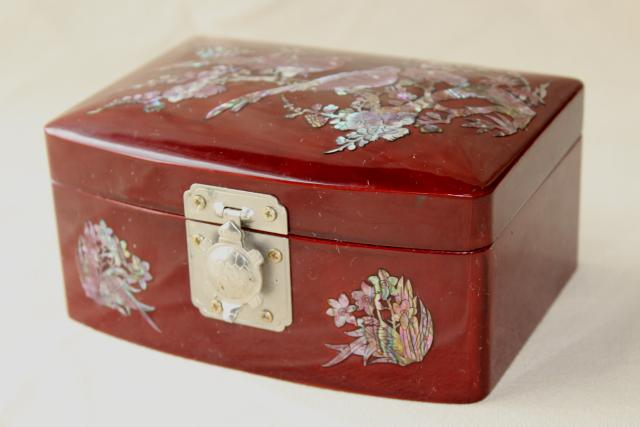 vintage wood lacquerware jewelry box w/ mother of pearl shell inlay, birds & flowers