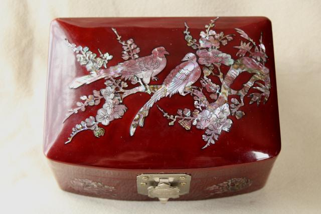 Vintage Wood Lacquerware Jewelry Box W Mother Of Pearl