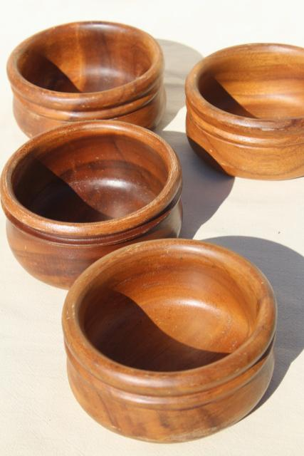 vintage wood salad bowls, wooden bowl set, carved acacia or monkey pod wood