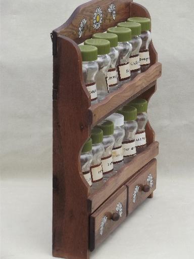 Vintage Wood Spice Rack Wall Shelves And Glass Bottle Spice Jars