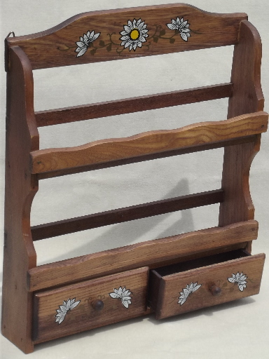 Vintage Wood Spice Rack Wall Shelves And Glass Bottle