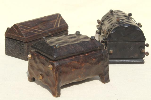 Vintage Wood Treasure Chests Spanish Carved Wood Boxes W