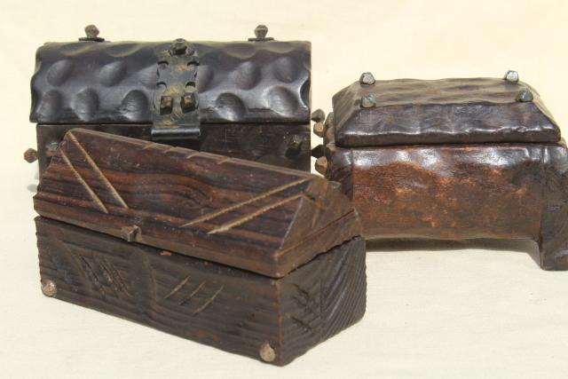 vintage wood treasure chests, Spanish carved wood boxes w/ medieval renaissance gothic style