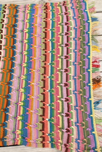 vintage wool blanket, striped crochet afghan throw, hippie boho prairie style retro!