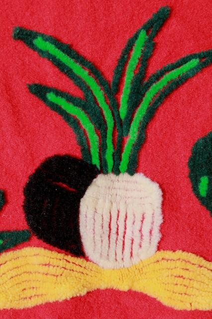 vintage wool jacket w/ chenille punch needle embroidery, southwest cactus & sombrero
