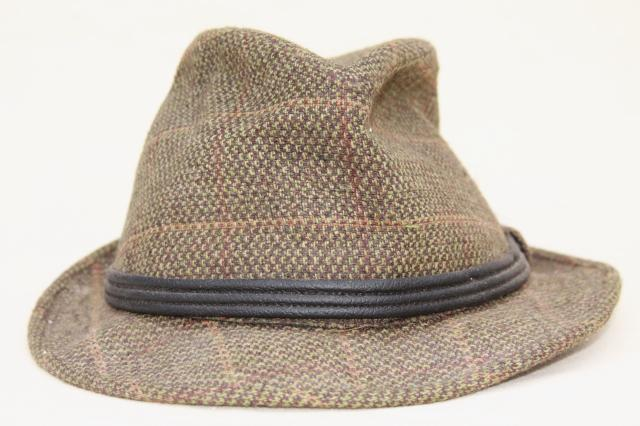 vintage wool tweed men's fedora hats, stingy brim fedoras, tweedy country hat