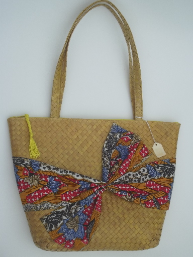 Vintage woven basket bag purse w/ print cotton scarf tie, new w/ tag