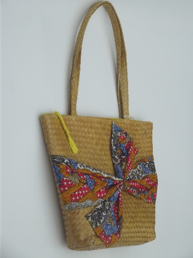 5f3aa3229a Vintage woven basket bag purse w  print cotton scarf tie