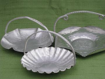 Vintage wrought aluminum tidbit plates, little baskets w/ handles