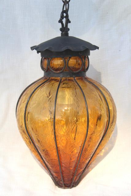 Vintage wrought iron lantern pendant light fixture hanging lamp w vintage wrought iron lantern pendant light fixture hanging lamp w amber glass shade mozeypictures Choice Image