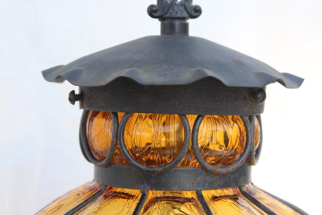 vintage wrought iron lantern pendant light fixture, hanging lamp w/ amber glass shade