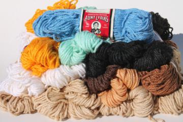 vintage yarn lot, Aunt Lydia's heavy rug yarn, rayon cotton bulky chunky yarn