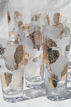 Vintage zombie glasses, tall glass cooler tumblers w/ gold leaf print & full moon
