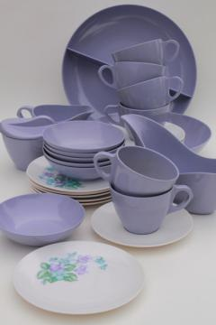 violet corsage melmac dishes set for six w/serving pieces, vintage Marcrest melmac