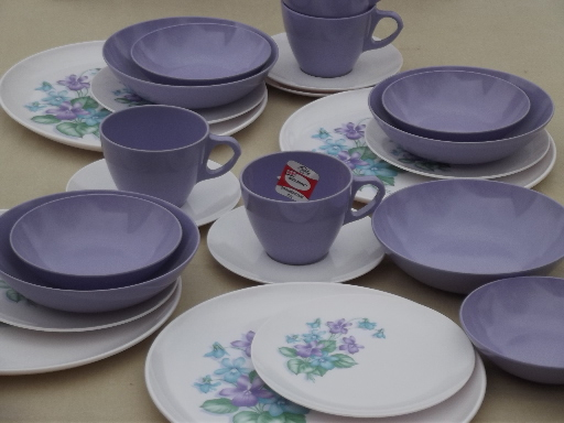 Violet corsage melmac dishes set vintage Marcrest melmac dinnerware for 4 & Violet corsage melmac dishes set vintage Marcrest melmac dinnerware ...