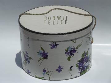Violets floral print hat box, vintage Bonwit Teller hatbox ladies hats