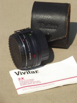 Vivitar 2X Tele Converter camera lens attachment w/ manual & case