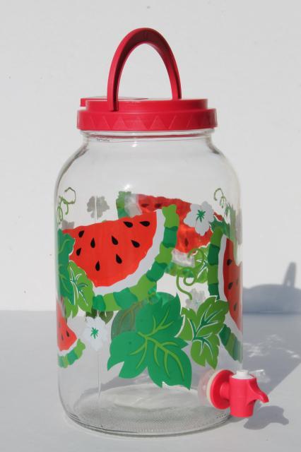 watermelon print gallon sun tea jar, glass jar beverage dispenser / fridge water bottle