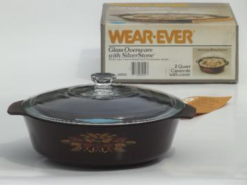 Wear-Ever wheat silverstone kitchen glass casserole pan in vintage box
