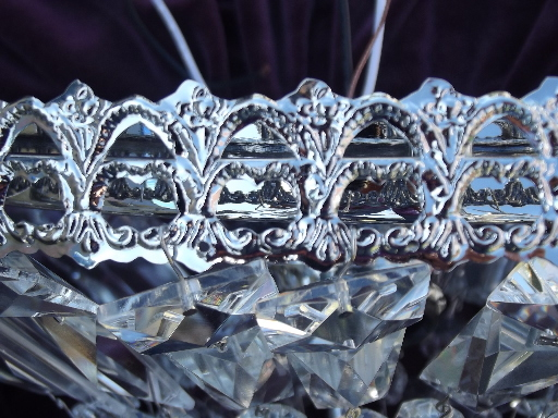 Wedding cake ceiling light chandelier fixture, silver / crystal prisms