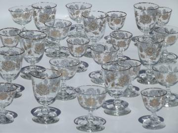 White & gold rose bouquet vintage Libbey cocktail glasses & water goblets