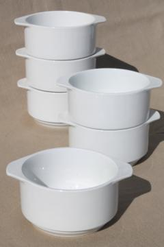 White ironstone restaurant china ramekin bowls, individual casserole dishes set of 6