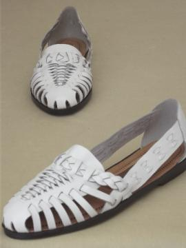 White leather huarache sandals, size 6 1/2 never worn vintage shoes
