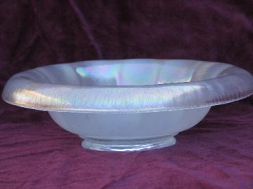White opalescent stretch glass console bowl, vintage art glass