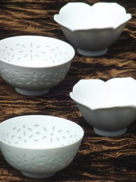 White porcelain rice / noddle bowls, rice china & lotus flower bowls