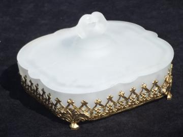 White satin frosted glass vanity dresser hankerchief or dusting powder box