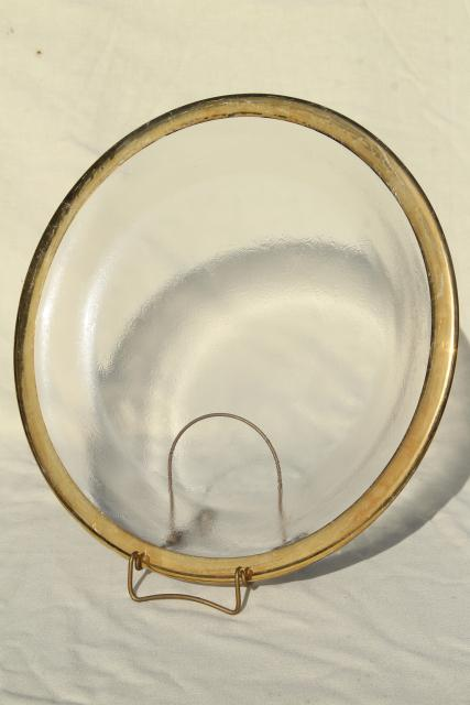 wide gold band ice textured clear glass serving tray, round platter or cake plate