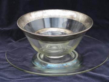Wide silver band glass vintage Dorothy Thorpe bowls, Studio cake plate