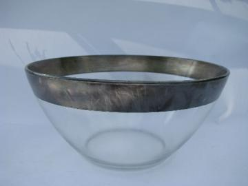 Wide silver band, mid-century modern glass bowl