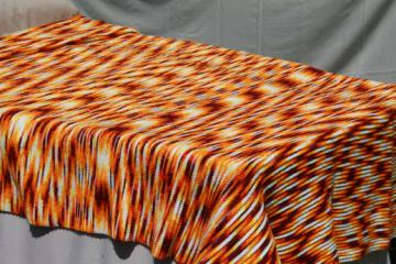 Wild 70s vintage afghan bedspread, tiger orange & brown self striping yarn crochet