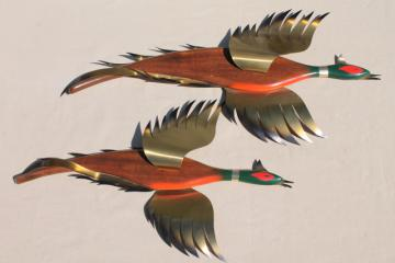wild game birds, vintage wood bird wall plaques w/ metal wings, flying pheasants
