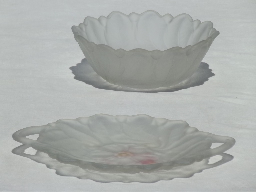 Wild Rose flower pattern frosted satin glass, vintage tray & serving bowl