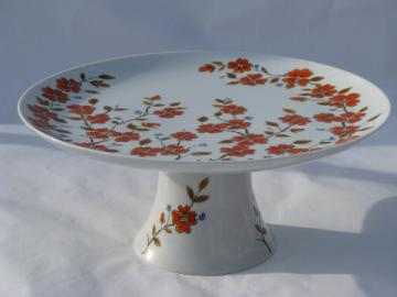 Winter Dogwood china cake stand, 70s vintage Himara - Saltera Japan