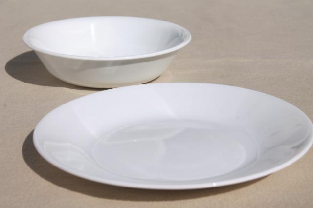 winter frost plain white Corelle glass bowls & bread plates set of 10