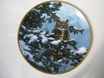 Winter Vigil, Spode plate - Noble Owls of America, Hamilton