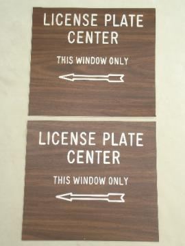 Wood grain plastic signs, License Plate Center, retro pop wall art