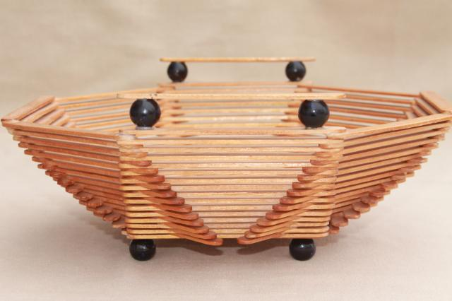 Wood popsicle stick bowls retro vintage summer camp arts