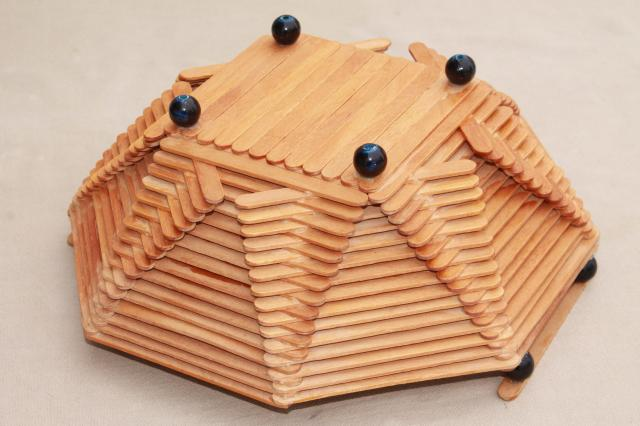 Wood popsicle stick bowls retro vintage summer camp arts for Popsicle sticks arts and crafts ideas