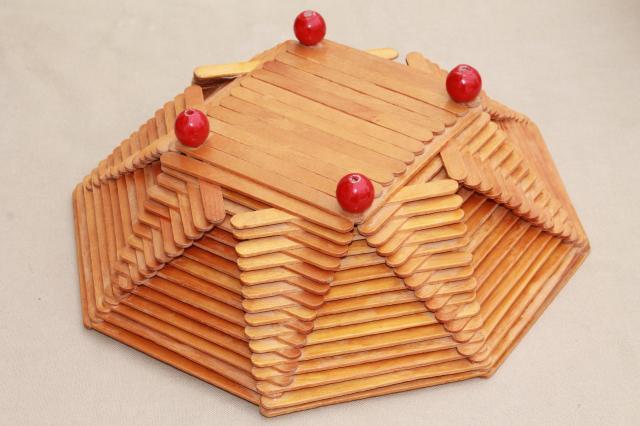 wood popsicle stick bowls, retro vintage summer camp arts u0026 crafts pieces