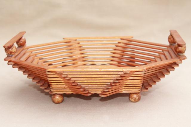 Wood popsicle stick bowls retro vintage summer camp arts amp crafts