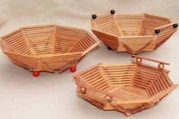wood popsicle stick bowls, retro vintage summer camp arts & crafts pieces