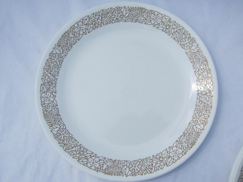 brown floral Corelle glass dishes, bowls & dinner plates