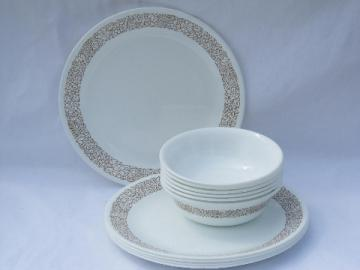 Woodland brown floral Corelle glass dishes, bowls & dinner plates