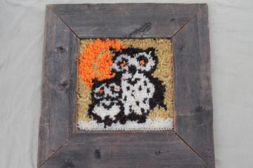 Woodland owl in rustic vintage wood frame, retro 70s shag rug wall hanging