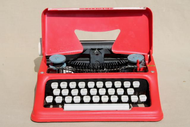 working toy typewriter, vintage Tom Thumb President typewriter in candy apple red