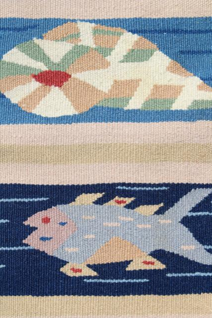 woven throw rug w/ seagulls, shells, fish - ocean & sand colors for beach house